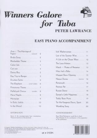 WINNERS GALORE Easy Piano Accompaniment