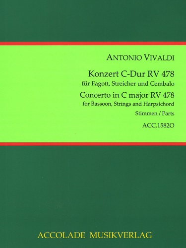 BASSOON CONCERTO C major, RV478, FVIII/3, PV71 (set of parts)